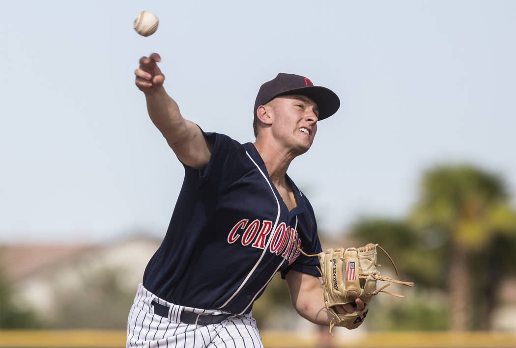 Coronado starting pitcher Kyle Hall (4) throws a pitch in the first inning during the Cougars road matchup with Liberty High School during the opening round of the Sunrise Region baseball tourname ...