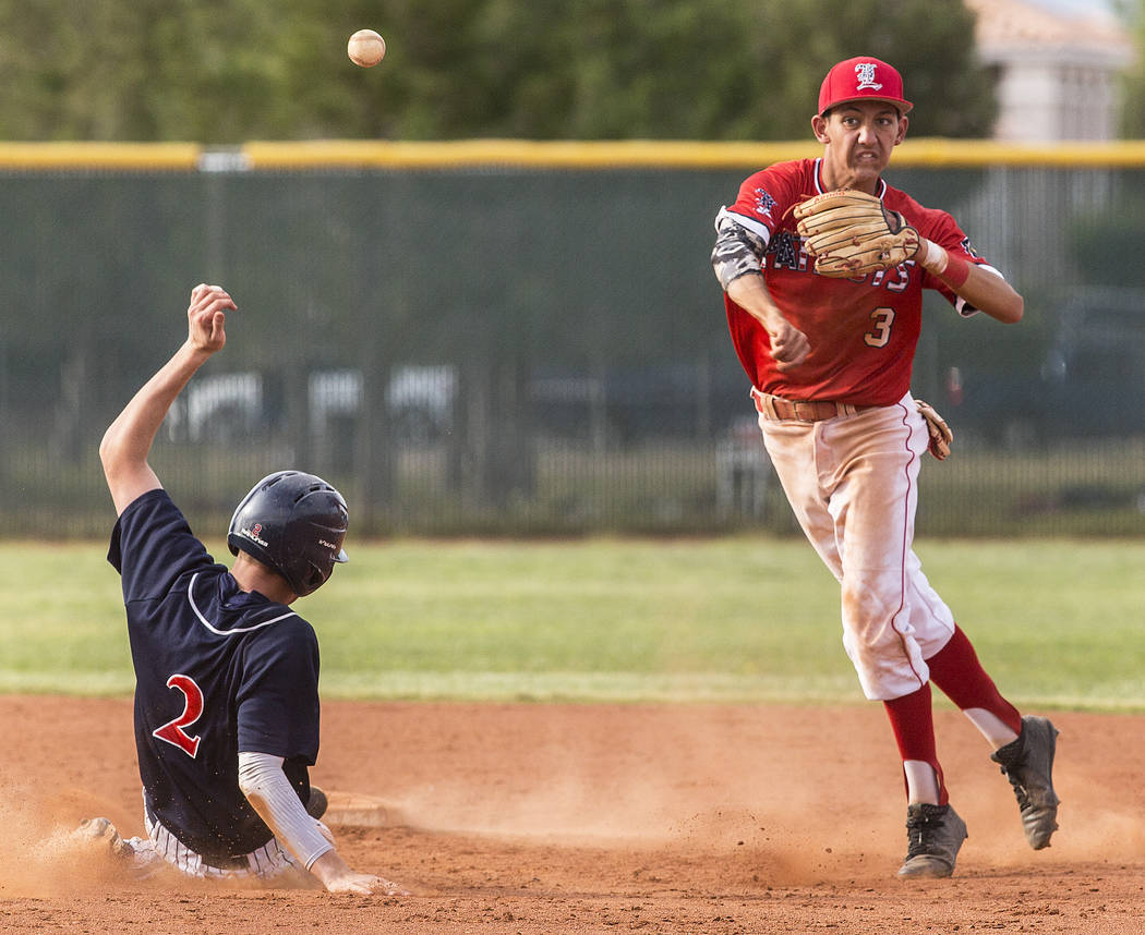 Liberty shortstop Dylan SanNicolas (3) turns a double play past Coronado's Taylor Darden (2) in the fifth inning during the Patriots home matchup with the Cougars during the opening round of the S ...