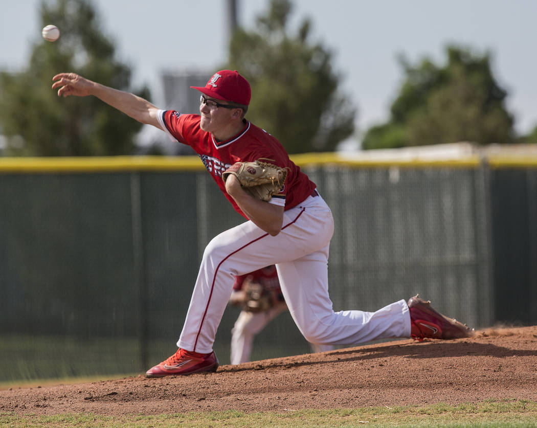 Liberty starting pitcher Jordan Bohnet (16) makes a pitch in the first inning during the Patriots home matchup with Coronado High School during the opening round of the Sunrise Region baseball tou ...