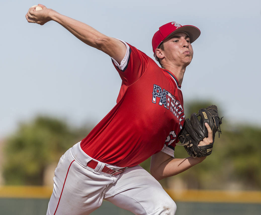 Liberty pitcher Garrett Maloney (55) makes a pitch in the second inning during the Patriots home matchup with Coronado High School during the opening round of the Sunrise Region baseball tournamen ...