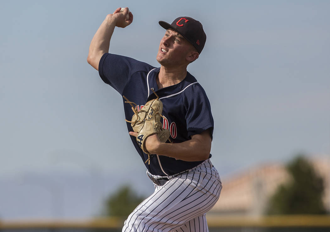Coronado starting pitcher Kyle Hall (4) makes a pitch in the third inning during the Cougars road matchup with Liberty High School during the opening round of the Sunrise Region baseball tournamen ...