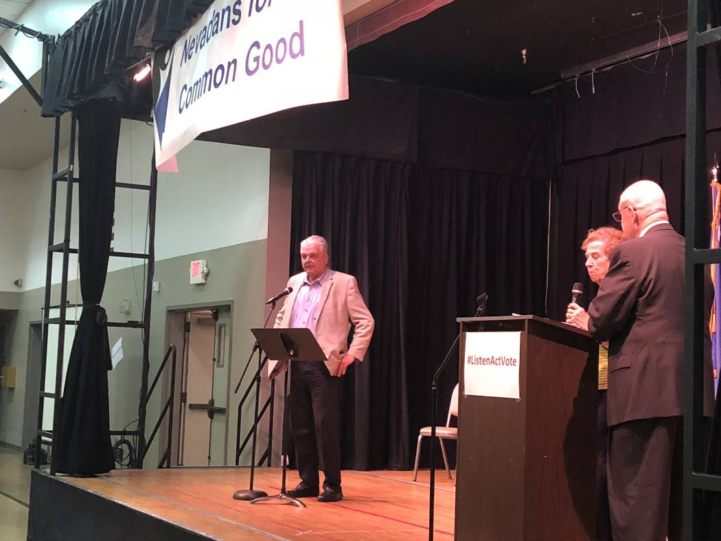 Clark County Commissioner Steve Sisolak speaks to the crowd of nearly 600 attendees at a forum Tuesday hosted by Nevadans for the Common Good.