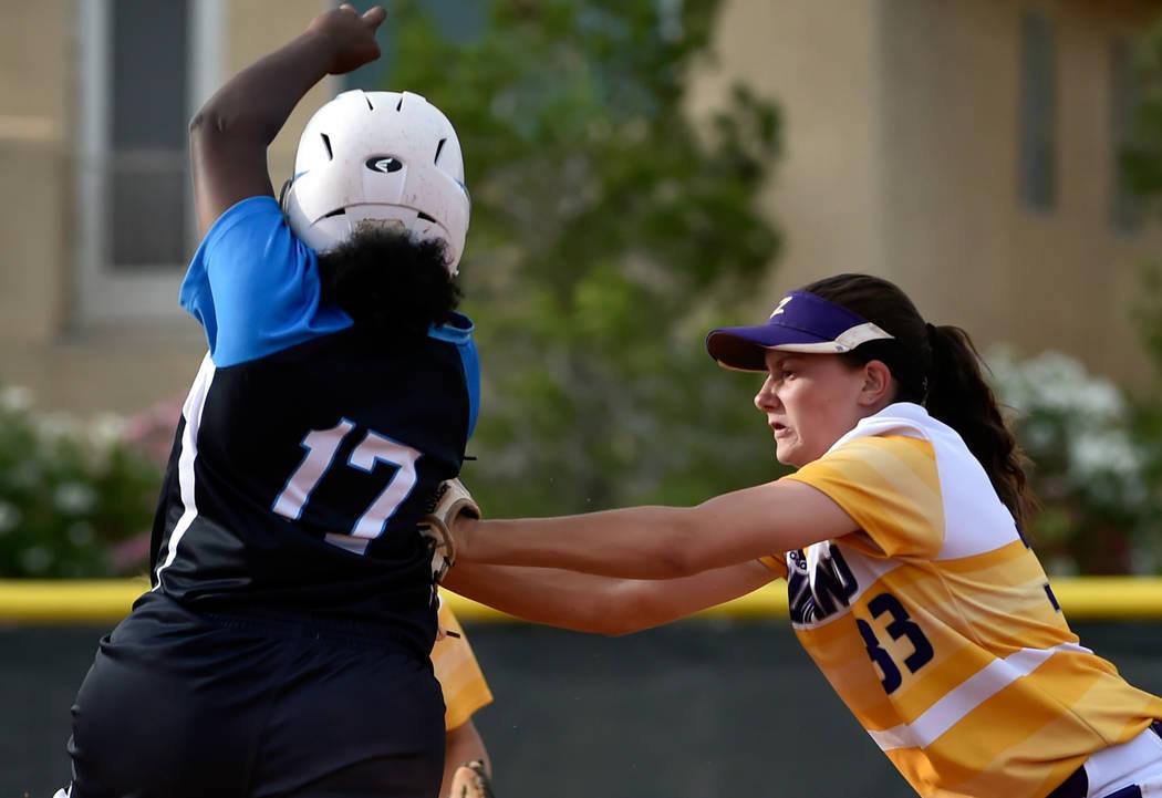 Durango's Kaitlin Fazendin (33) tags out Centennial's Amanda Sink during a high school softball game at Durango High School Tuesday, May 8, 2018, in Las Vegas. Centennial won 12-0. David Becker/La ...