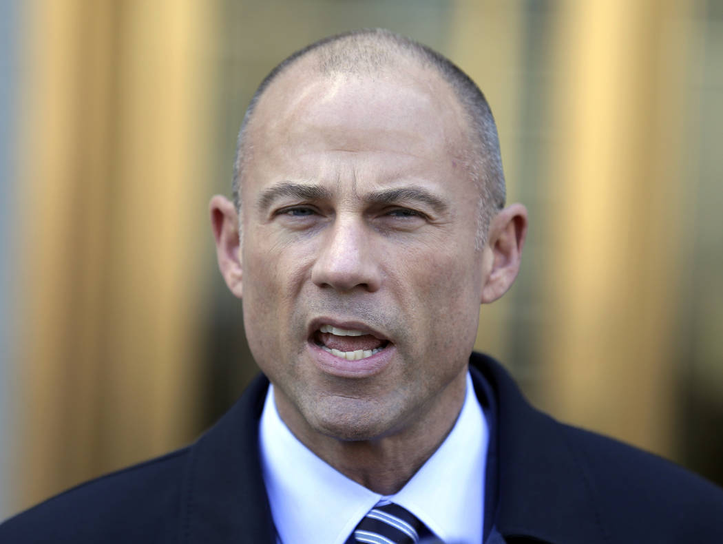 In this Thursday, April 26, 2018, file photo, Michael Avenatti, Stormy Daniels' attorney, talks to reporters outside of federal court in New York. Avenatti says he has information showing that Pre ...