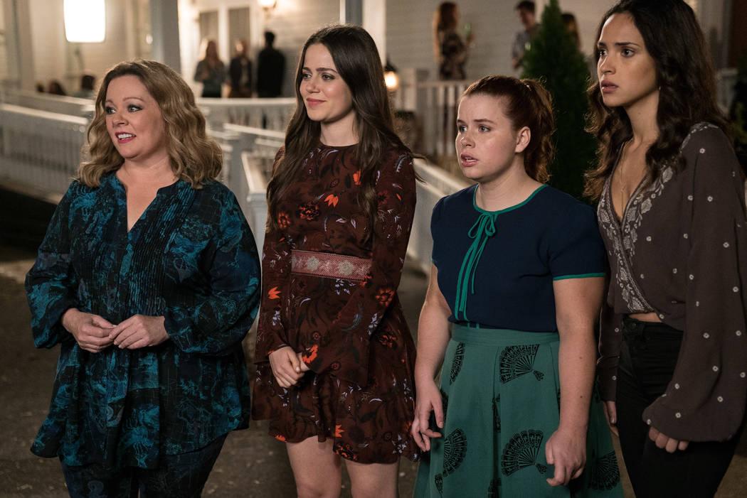 "MELISSA McCARTHY as Deanna, MOLLY GORDON as Maddie, JESSIE ENNIS as Debbie and ADRIA ARJONA as Amanda in the comedy ""LIFE OF THE PARTY,"" (Hopper Stone/Warner Bros.)"