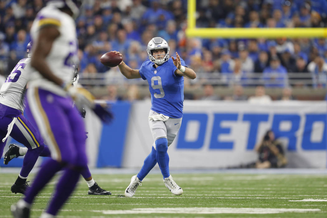 Detroit Lions quarterback Matthew Stafford throws against the Minnesota Vikings during an NFL football game in Detroit, Thursday, Nov. 23, 2017. (AP Photo/Paul Sancya)