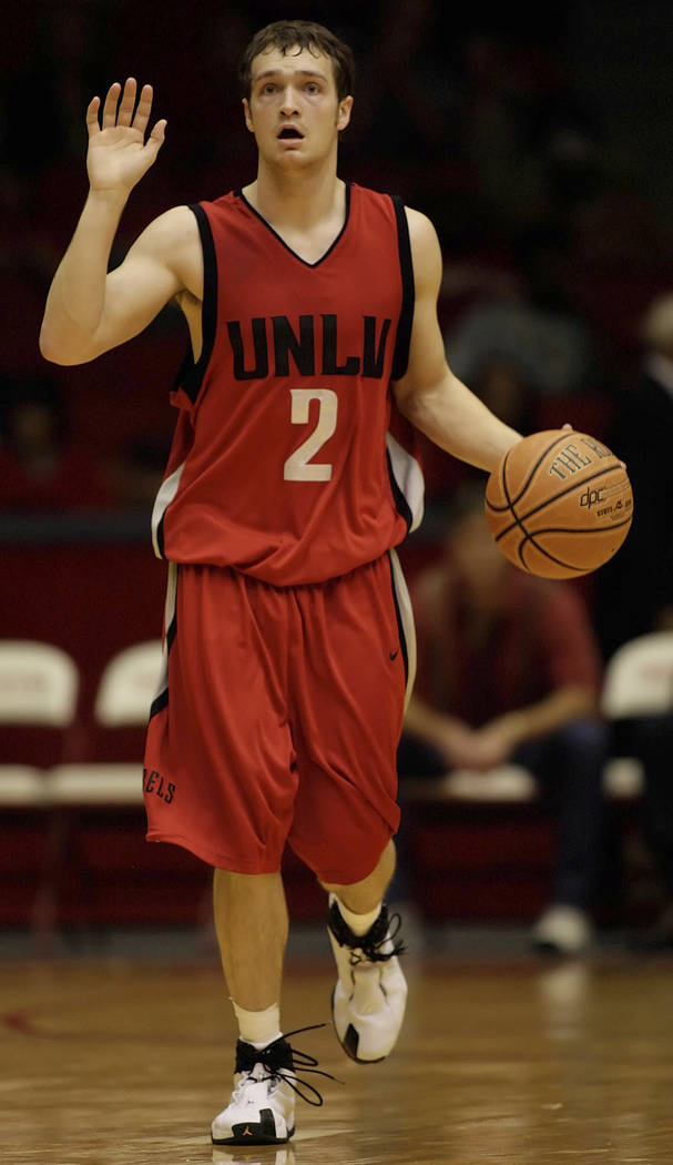 FILE*** DAVID EINSEL/SPECIAL TO THE REVIEW-JOURNAL UNLV basketball player Kevin Kruger calls a play during the second half of their basketball game against Houston, Saturday, Dec. 30, 2006, in H ...