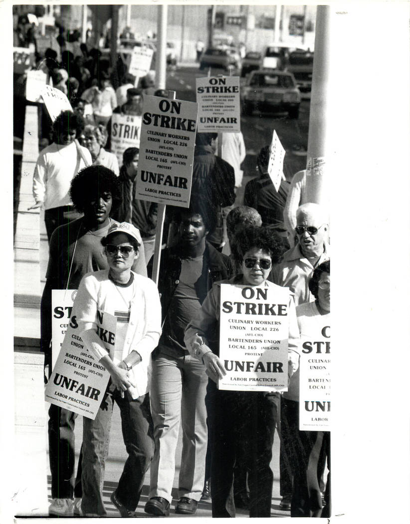Labor: Culinary Union Strike 1984 - April 1, 1984 Just beginning the strike. (Gary Thompson/Las Vegas Review-Journal)