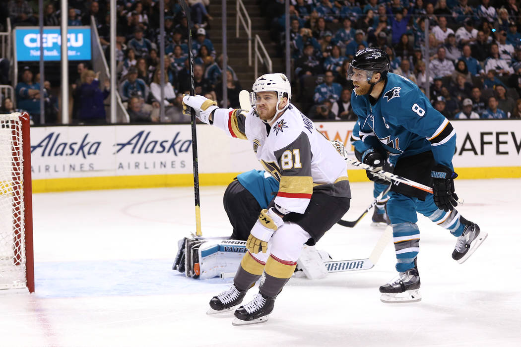Vegas Golden Knights center Jonathan Marchessault (81) reacts after making a shot against San Jose Sharks during the second period in Game 6 of an NHL hockey second-round playoff series at the SAP ...