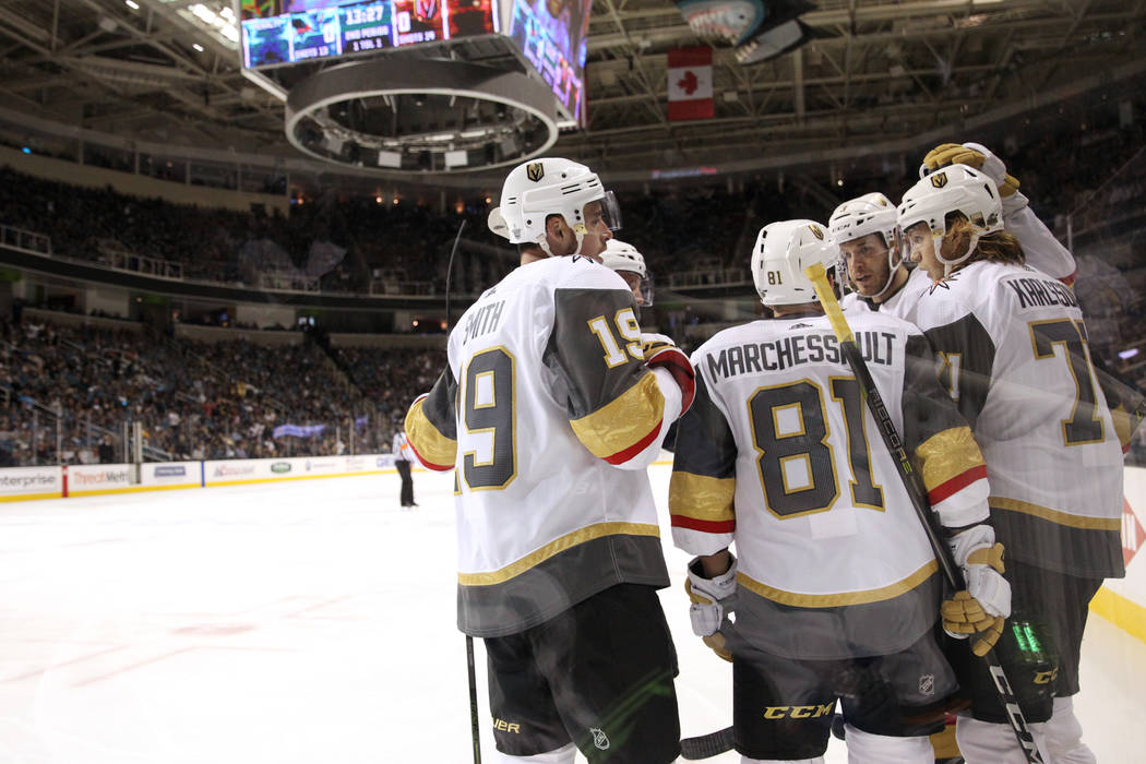 Vegas Golden Knights center Jonathan Marchessault (81) celebrates his score with his team against the San Jose Sharks during the second period in Game 6 of an NHL hockey second-round playoff serie ...