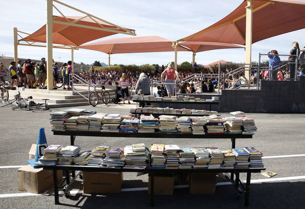 """Books are displayed after riders delivered them to Robert L. Taylor Elementary School students during the eighth annual """"Ride for Reading"""" event on Friday, May 11, 2018, in Henderson ..."""