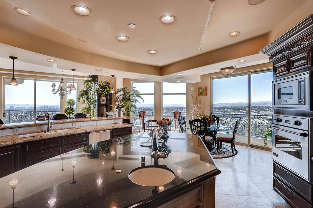 From the kitchen are views of the Las Vegas Strip. (Char Luxury Real Estate)
