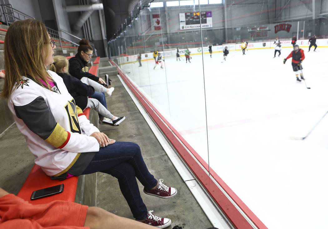 Stephanie Scott watches her son, Cole Gould, 13, during practice for the Vegas Jr. Golden Knights at City National Arena in Las Vegas on Thursday, May 10, 2018. Chase Stevens Las Vegas Review-Jour ...