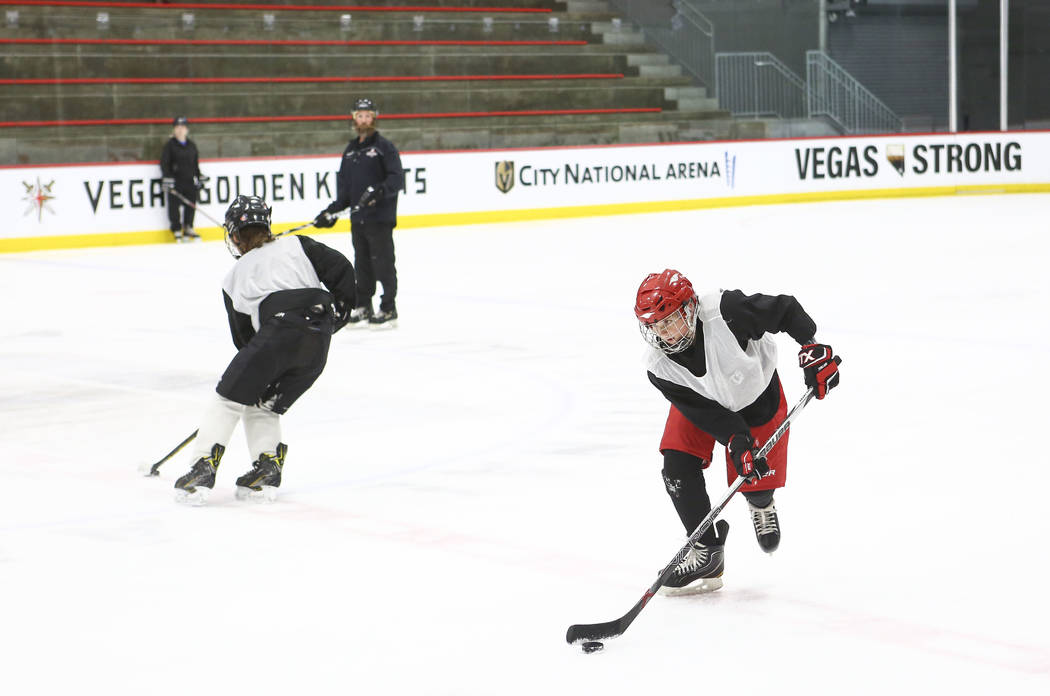 Cole Gould, 13, skates with the puck during practice for the Vegas Jr. Golden Knights at City National Arena in Las Vegas on Thursday, May 10, 2018. Chase Stevens Las Vegas Review-Journal @cssteve ...