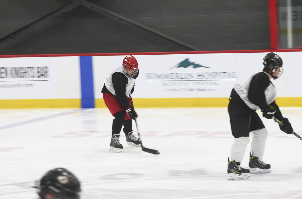 Cole Gould, 13, warms up during practice for the Vegas Jr. Golden Knights at City National Arena in Las Vegas on Thursday, May 10, 2018. Chase Stevens Las Vegas Review-Journal @csstevensphoto