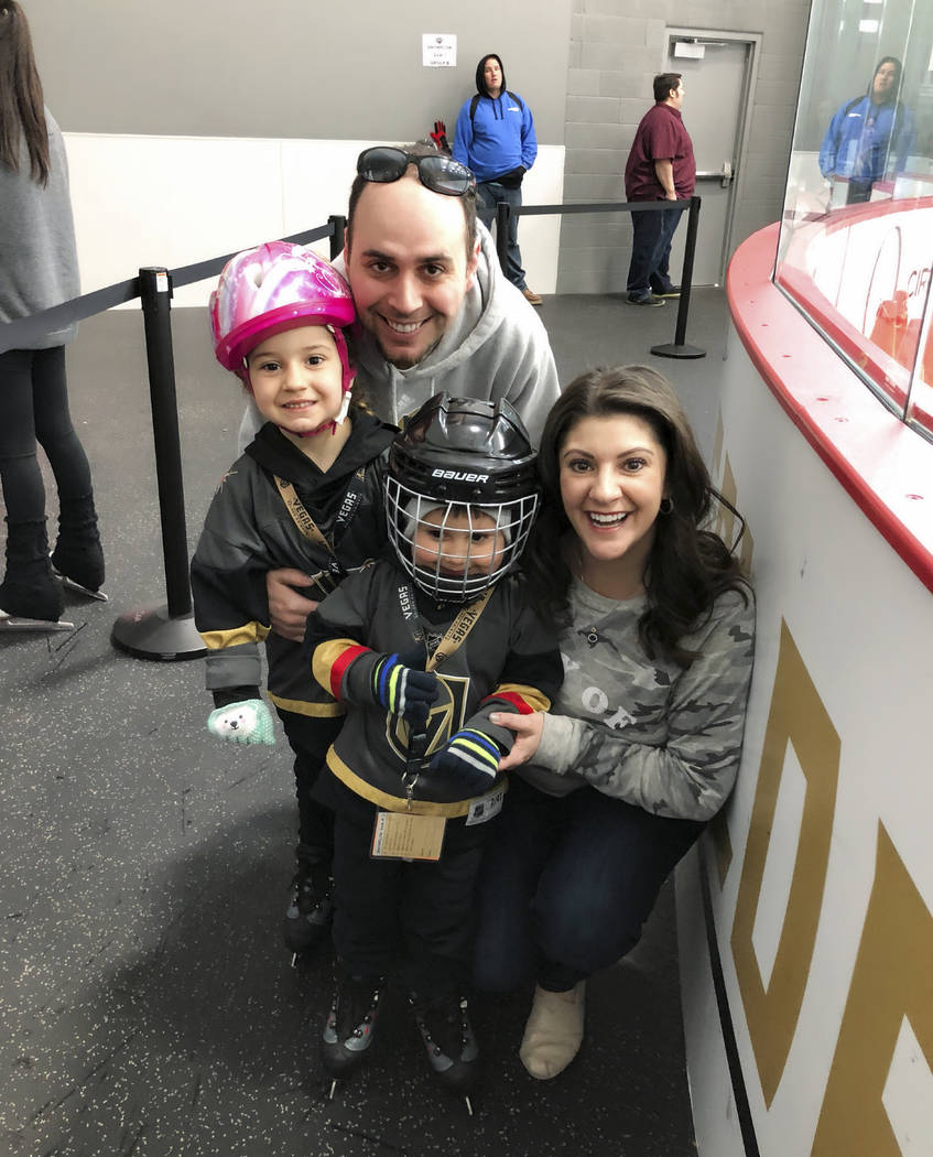 Courtesy the Angioni family. Marco and Dana Angioni visit a skating session with children Gianna, 5, and Marco III, 3, at City National Arena.