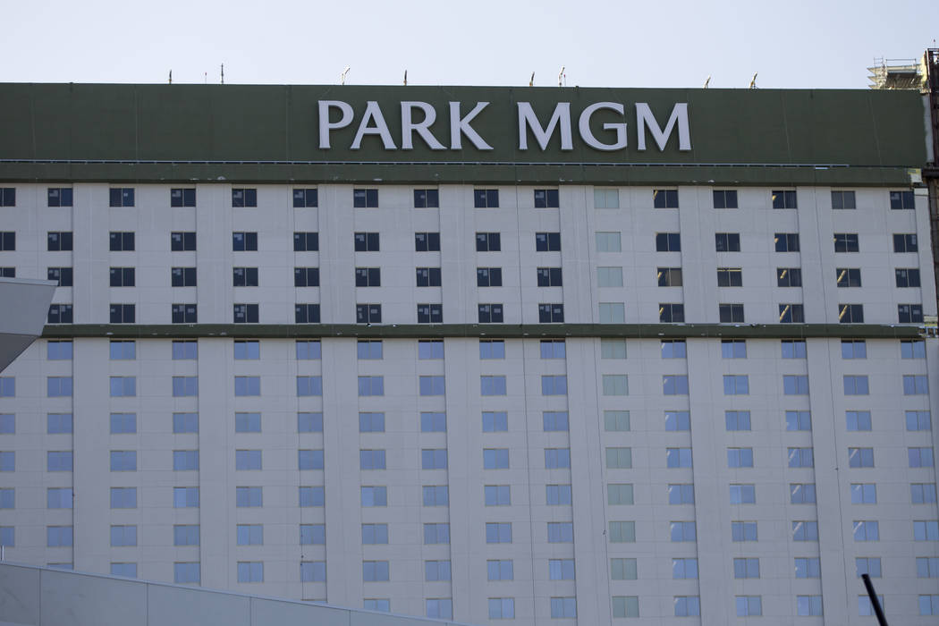 Newly installed Park MGM branding replaces Monte Carlo at the casino-hotel in Las Vegas, Friday, April 13, 2018. Erik Verduzco Las Vegas Review-Journal @Erik_Verduzco
