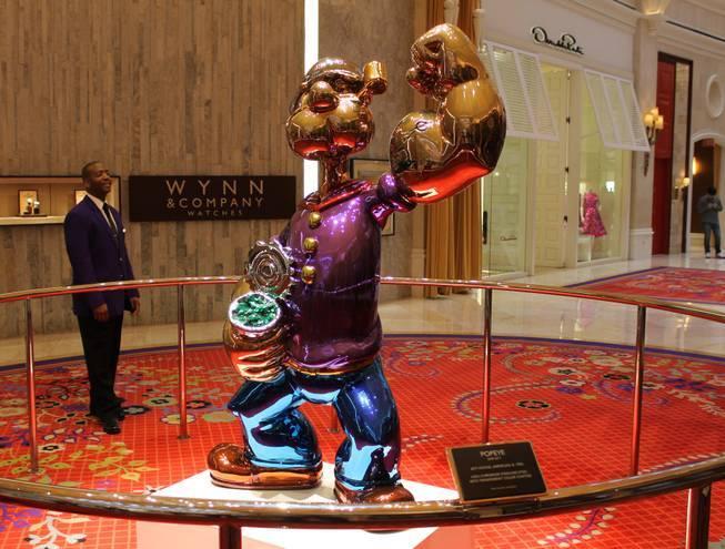 Jeff Koons' Popeye the Sailor will remain on display at Wynn Las Vegas until moved to Encore Boston Harbor. (John Katsilometes/Las Vegas Review-Jounal) @JohnnyKats