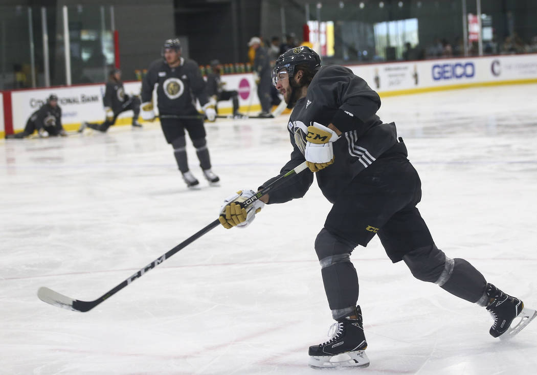Golden Knights defenseman Colin Miller (6) shoots during practice at City National Arena in Las Vegas on Thursday, May 10, 2018. Chase Stevens Las Vegas Review-Journal @csstevensphoto