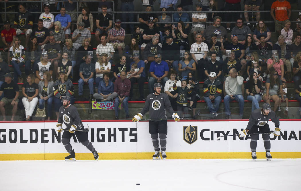 Golden Knights defensemen Shea Theodore, from left, Brayden McNabb and Colin Miller during practice at City National Arena in Las Vegas on Thursday, May 10, 2018. Chase Stevens Las Vegas Review-Jo ...
