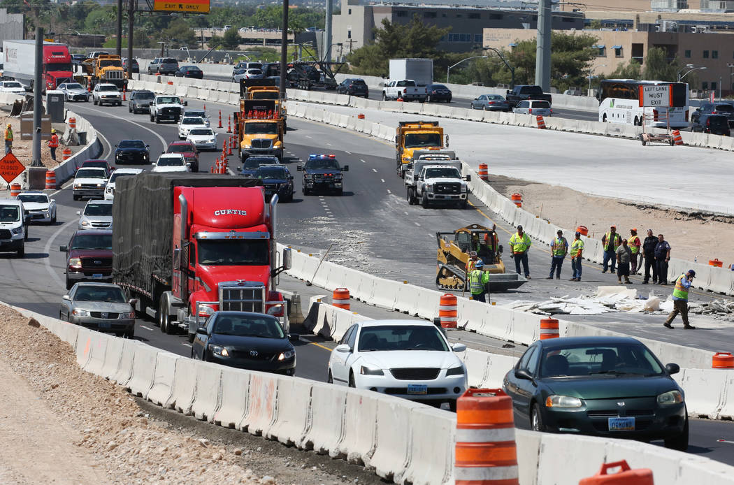 Traffic backed up for miles on I-95 North following tractor trailer crash just north of the Spaghetti Bowl on Thursday, May 10, 2018, in Las Vegas. Bizuayehu Tesfaye/Las Vegas Review-Journal @bizu ...