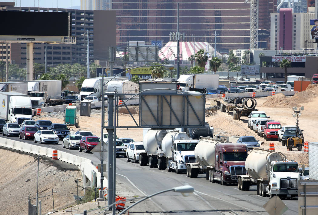 Traffic backed up for miles on I-95 North after a crash involving a tractor trailer just north of the Spaghetti Bowl on Thursday, May 10, 2018, in Las Vegas. Bizuayehu Tesfaye/Las Vegas Review-Jou ...