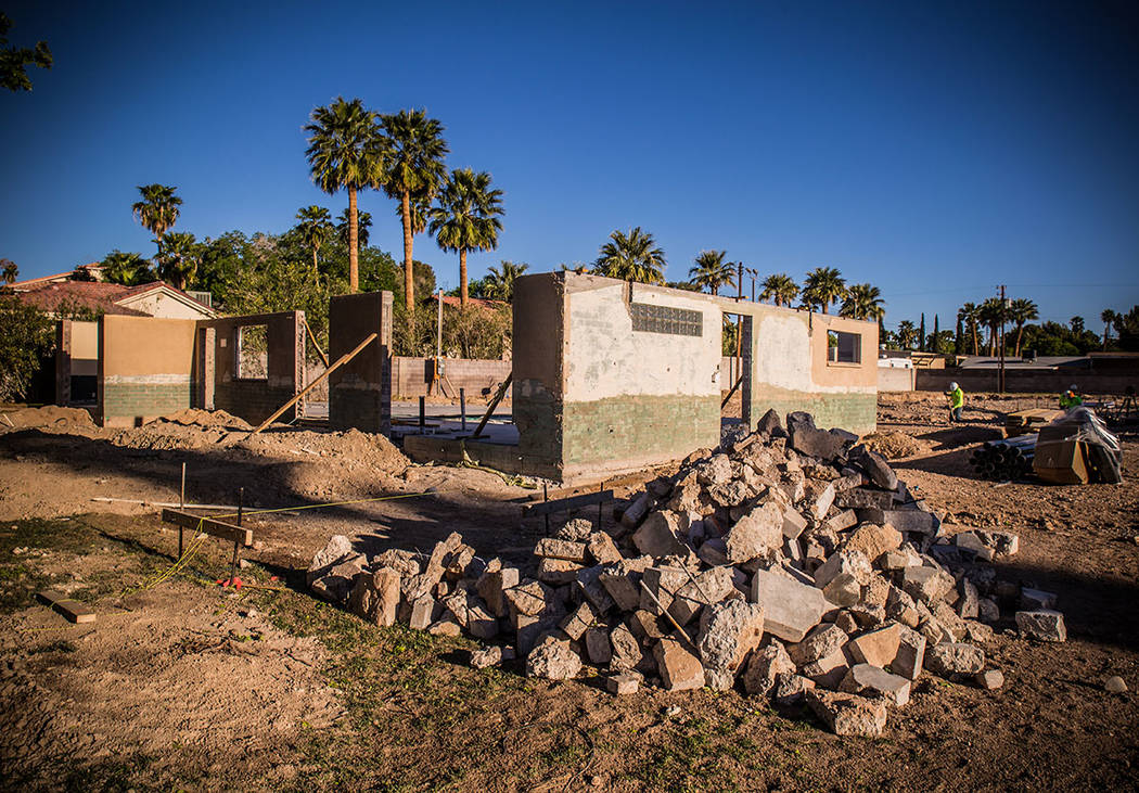 Work has started on the 2019 New American Remodel home near downtown Las Vegas on Pinto Lane near Rancho Boulevard. Henderson architect Michael Gardner is expected to complete it in December. (Ton ...