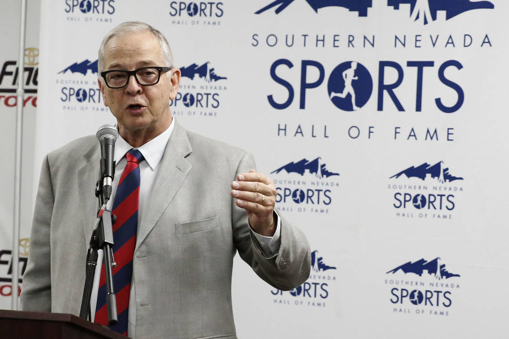 Jim Reitz, who took the reins of the UNLV swimming program in 1980-81, speaks after his name was announced for the 2018 Southern Nevada Sports Hall of Fame class at Findlay Toyota on Tuesday, Feb. ...
