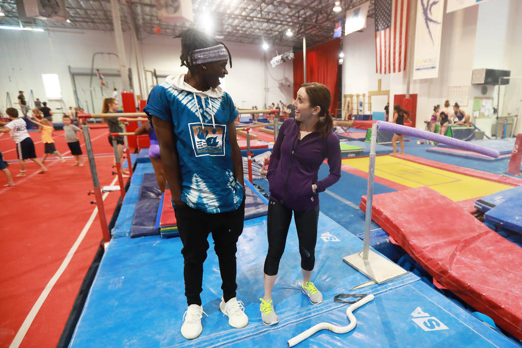 Becca Rice, 18, and his adoptive mother, Cassie, a gymnastics coach and owner of Gymcats, spend time together at Gymcats in Henderson on Monday, May 7, 2018. Andrea Cornejo Las Vegas Review-Journa ...