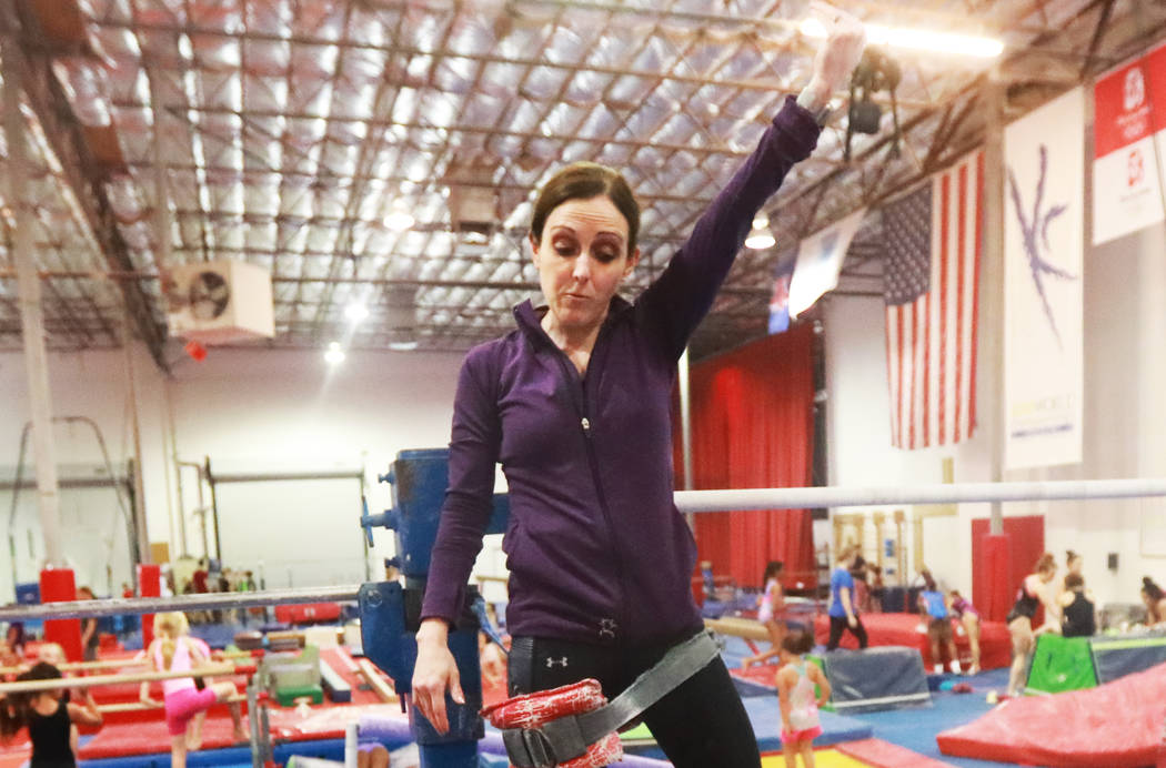 Coach Cassie Rice instructs several gymnasts at Gymcats, which she owns, in Henderson on Monday, May 7, 2018. Andrea Cornejo Las Vegas Review-Journal @dreacornejo