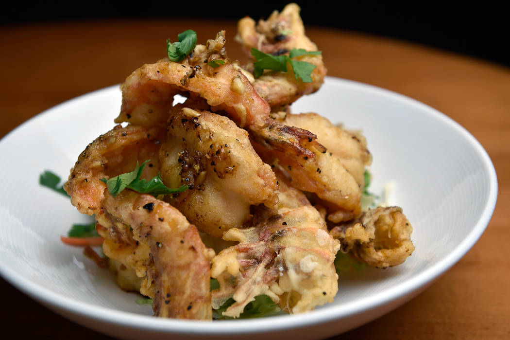 Garlic prawns, a featured dish at Lotus of Siam is displayed at the restaurant on Friday, May 11, 2018, in Las Vegas. David Becker/Las Vegas Review-Journal Follow @davidjaybecker