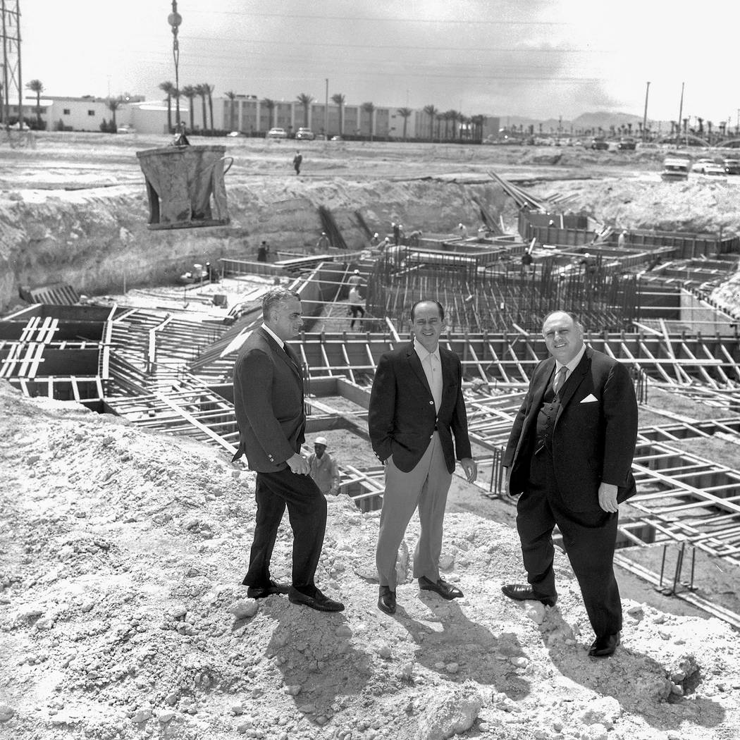 Jerry Wald, project manager, Nate Jacobson, president, and Jay Sarno, managing director, are shown during construction of Caesars Palace on April 9, 1965. (Las Vegas News Bureau)