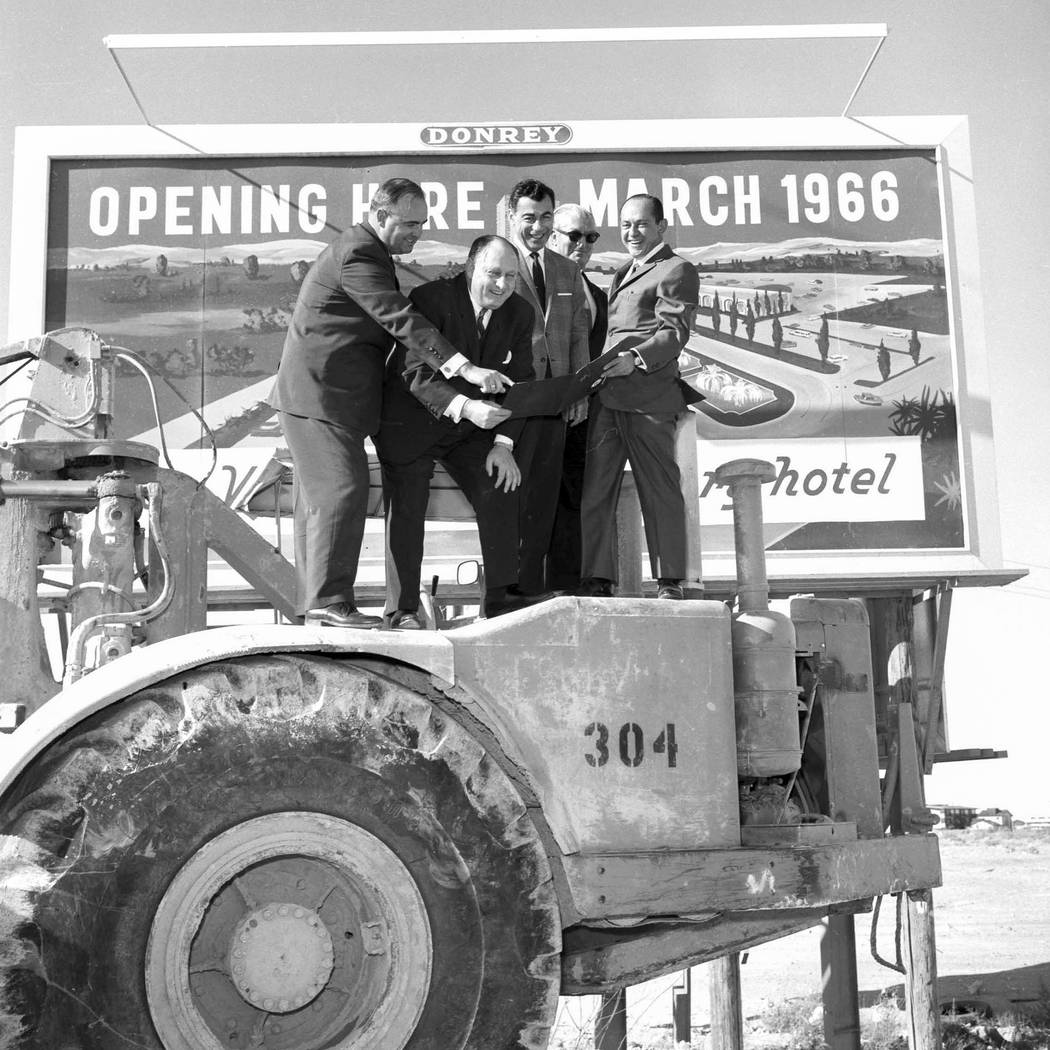 Kirk Kerkorian, Jay Sarno, and Nate Jacobson are shown at Caesars Palace groundbreaking on January 26, 1965. (Photo by Jerry Abbott/Las Vegas News Bureau)