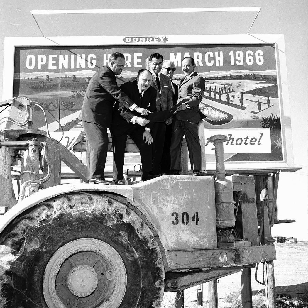 1/26/1965 Caesars Palace groundbreaking. Kirk Kerkorian, Jay Sarno, Nate Jacobson (Photo by Jerry Abbott/Las Vegas News Bureau