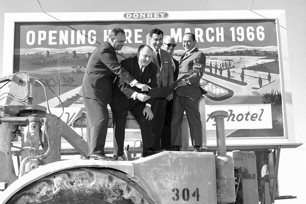 Kirk Kerkorian, Jay Sarno, and Nate Jacobson are shown at Caesars Palace groundbreaking on January 26, 1965. (Photo by Jerry Abbott/Las Vegas News Bureau)