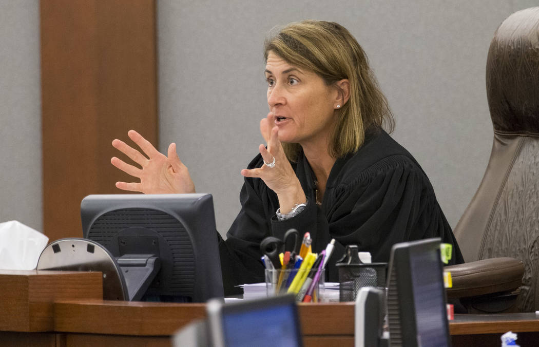 District Judge Jennifer Togliatti gestures during the hearing of two-time killer Scott Dozier at the Regional Justice Center on Sept. 11, 2017, in downtown Las Vegas. Richard Brian Las Vegas Revie ...