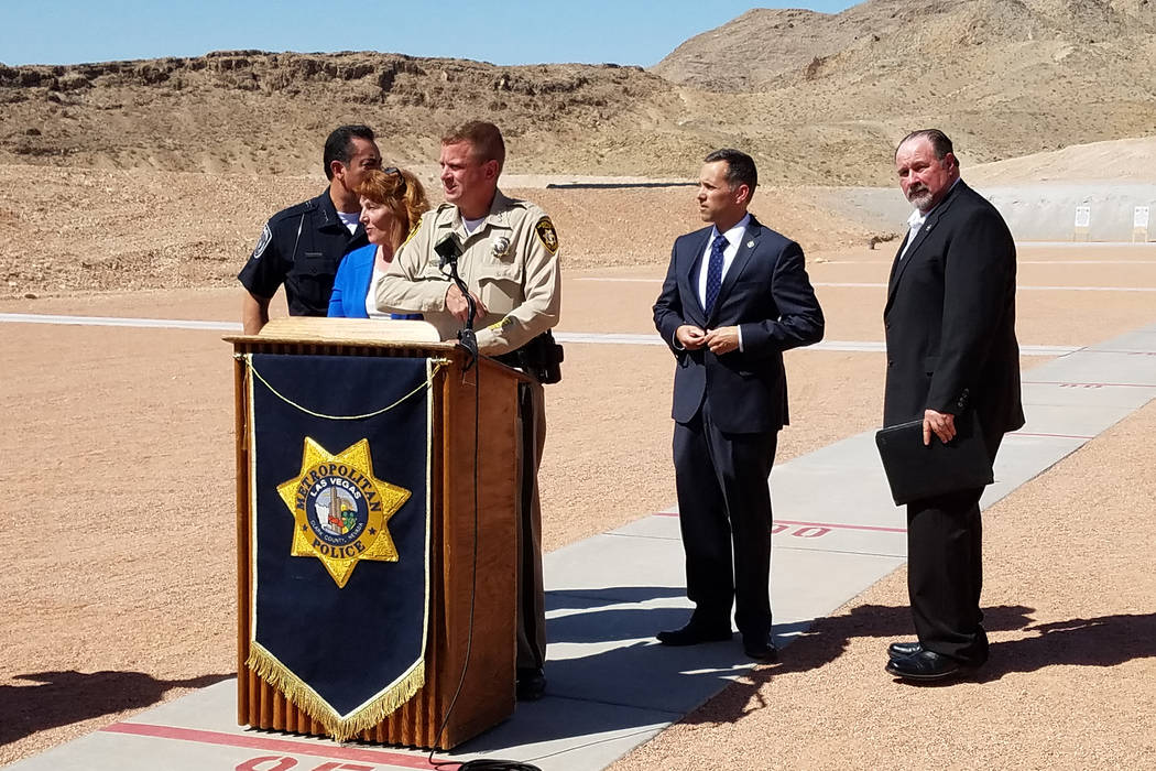 Clark County Undersheriff Kevin McMahill, third from left, speaks during an event held Thursday, May 10, 2018, to announce plans for the Nevada Joint Training Facility. Other officials in attendan ...