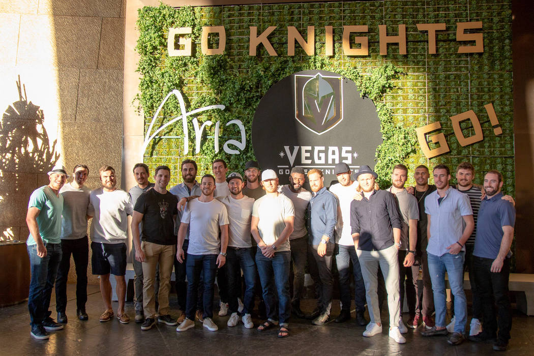 The Vegas Golden Knights are shown at Carbone at Aria, celebrating Alex Tuch's 22nd birthday on Wednesday, May 10, 2018. (Aria/MGM Resorts)