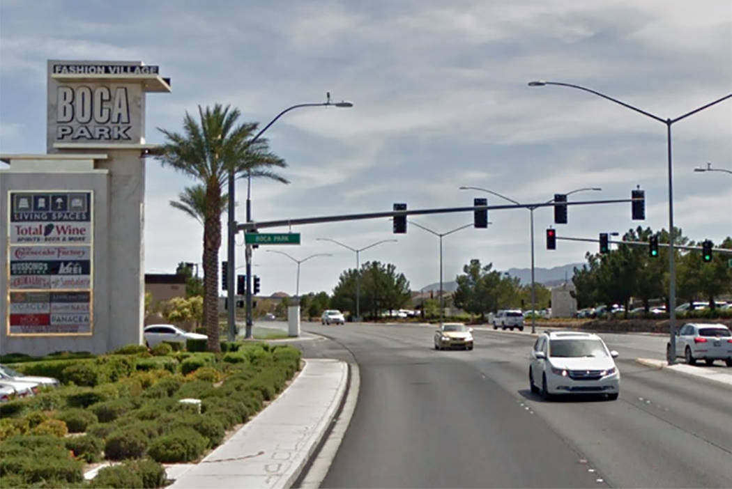 Rampart Boulevard, looking south, curves toward Charleston Boulevard near Summerlin in Las Vegas. (Google maps)