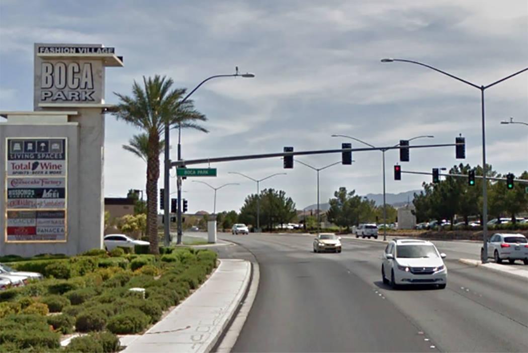 Rampart Boulevard, looking south, curves toward Charleston Boulevard near Summerlin in Las Vegas. (Google maps)