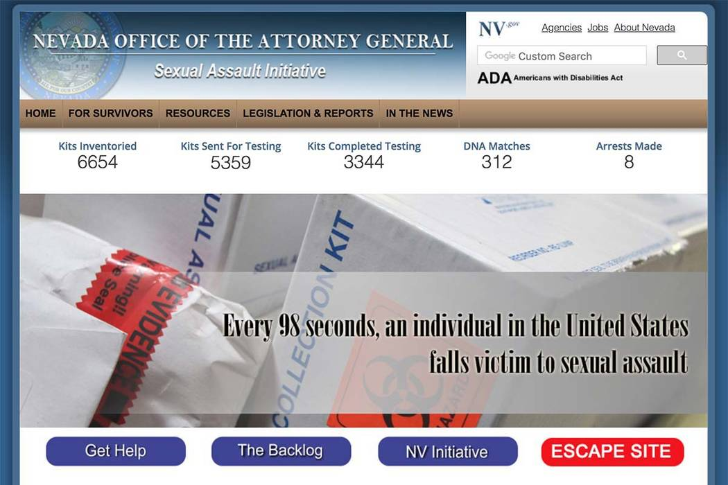This screen capture shows a website launched by the Nevada Attorney General's Office at http://endnevadasbacklog.ag.nv.gov/