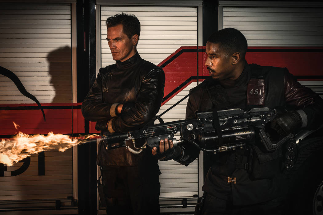 "Michael Shannon, left, and Michael B. Jordan star in ""Fahrenheit 451."" (Michael Gibson/HBO)"