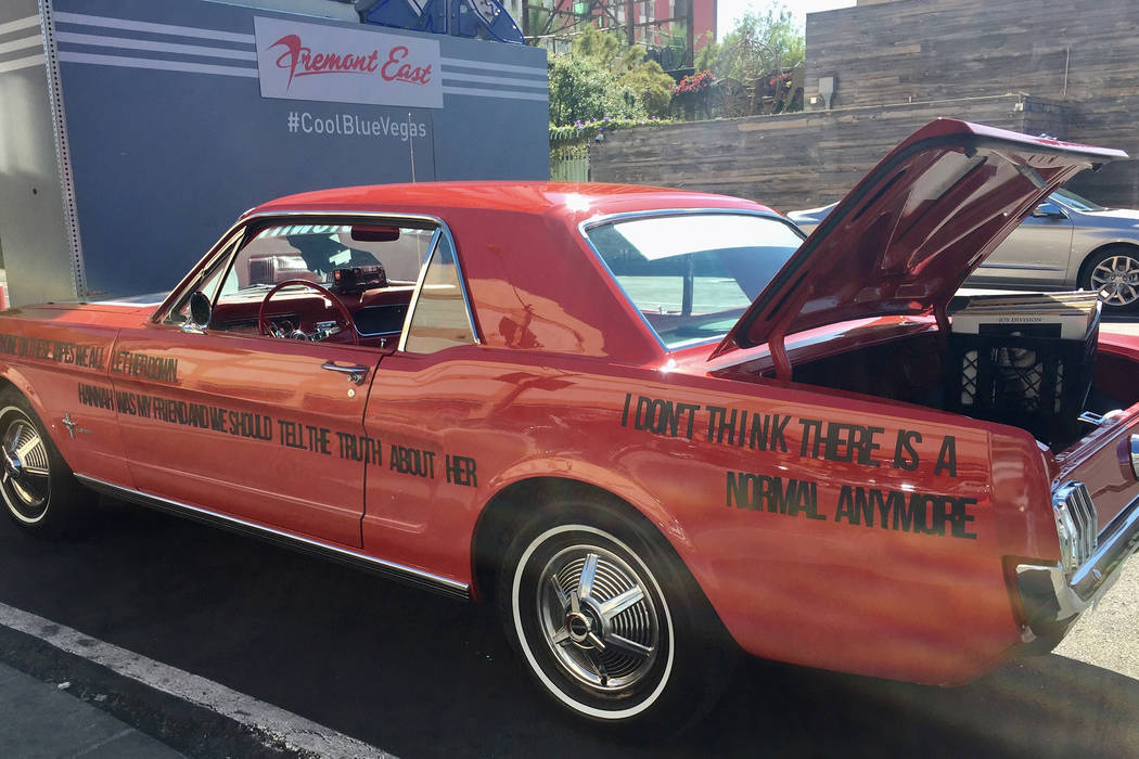 "A red Mustang, like the one driven by character Tony Padilla (Christian Navarro), made its way around Las Vegas this past week to promote Netflix's ""13 Reasons Why."" (Netflix)"