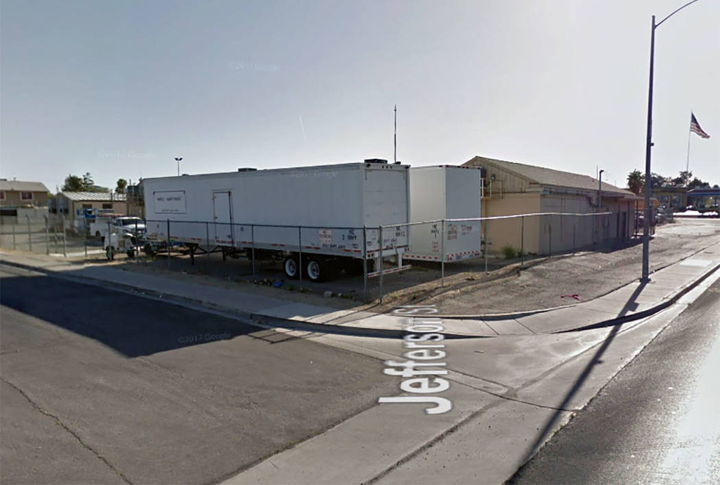 A 2-acre maintenance yard for the Clark County School District is seen at Lake Mead Boulevard and Jefferson Street in North Las Vegas. (Google maps)