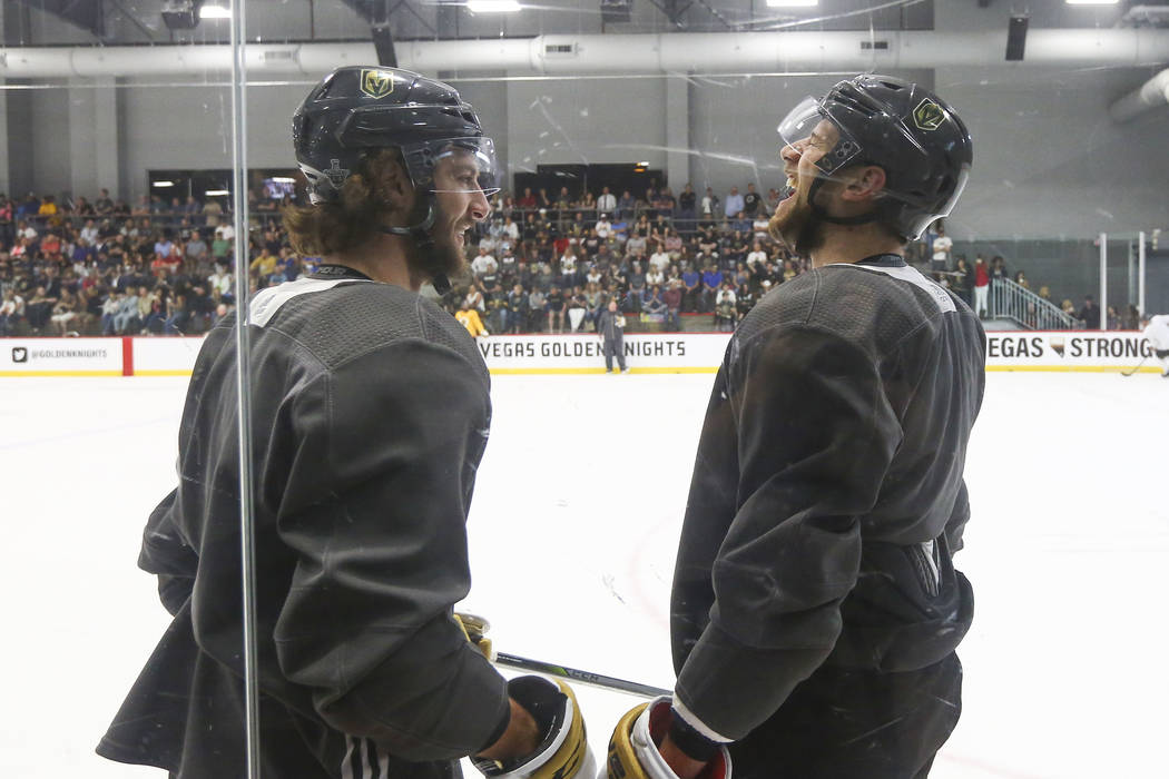 Golden Knights defensemen Colin Miller, left, and Shea Theodore chat during practice at City National Arena in Las Vegas on Thursday, May 10, 2018. Chase Stevens Las Vegas Review-Journal @cssteven ...