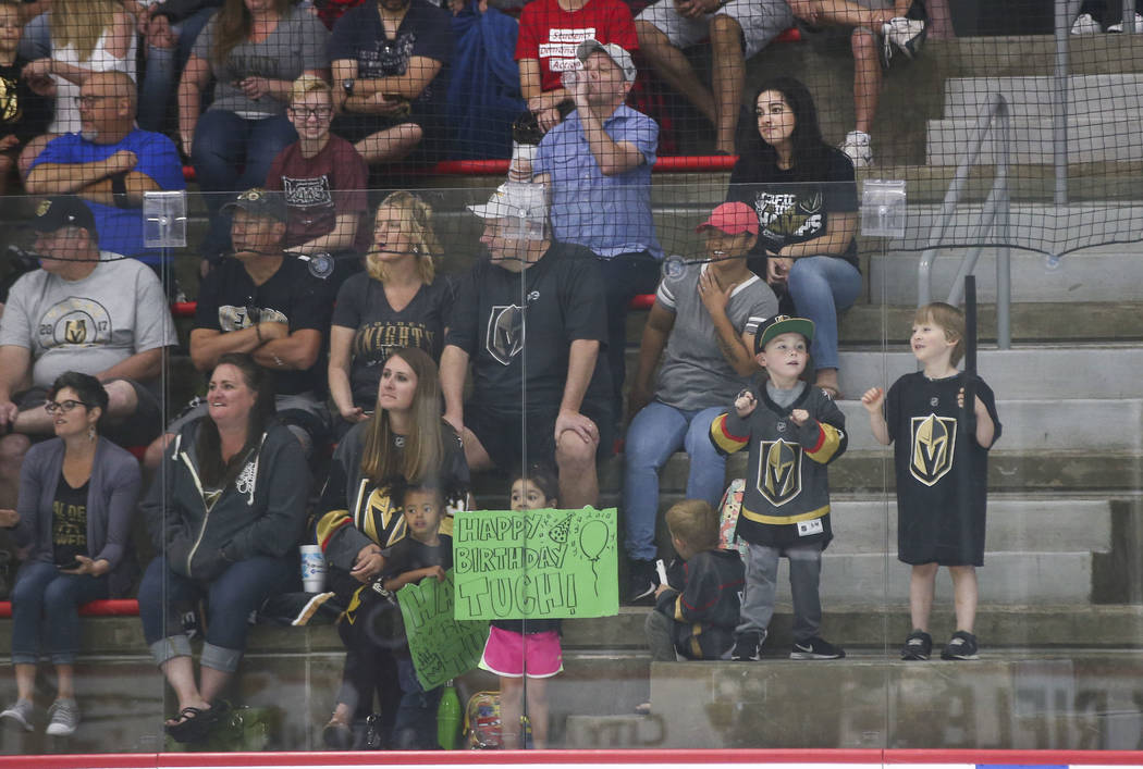 Golden Knights fans watch the players on ice during practice at City National Arena in Las Vegas on Thursday, May 10, 2018. Chase Stevens Las Vegas Review-Journal @csstevensphoto