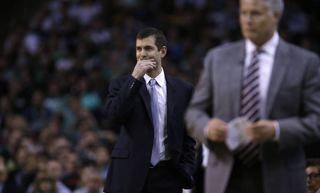 Boston Celtics head coach Brad Stevens during the first quarter of Game 5 of an NBA basketball playoff series in Boston, Wednesday, May 9, 2018. (AP Photo/Charles Krupa)