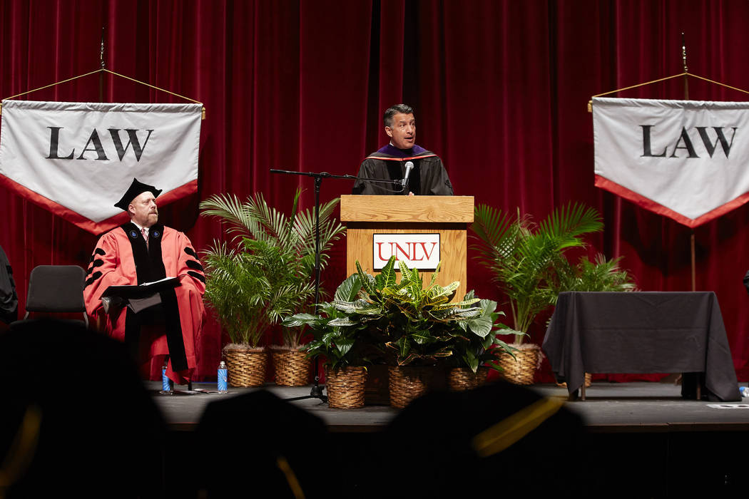 Governor Brian Sandoval giving a speech at the Boyd School of Law commencement ceremony. Law School Commencement. May 11, 2018 (Josh Hawkins/UNLV Creative Services)