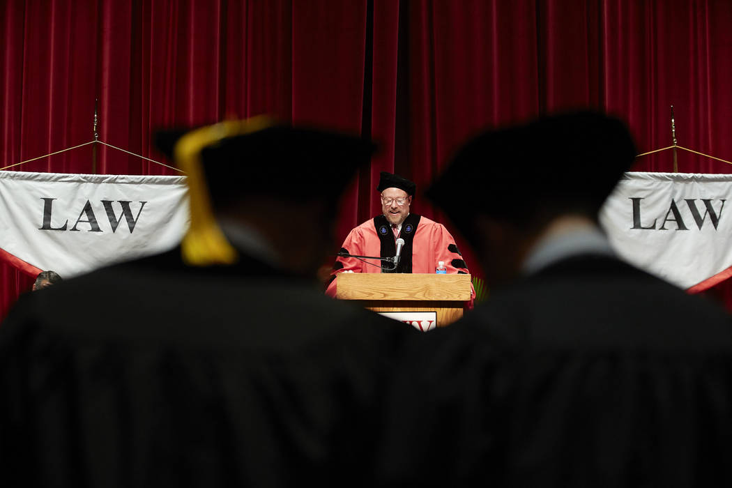 Dean Hamilton talking at the Boyd School of Law commencement ceremony. May 11, 2018 (Josh Hawkins/UNLV Creative Services)