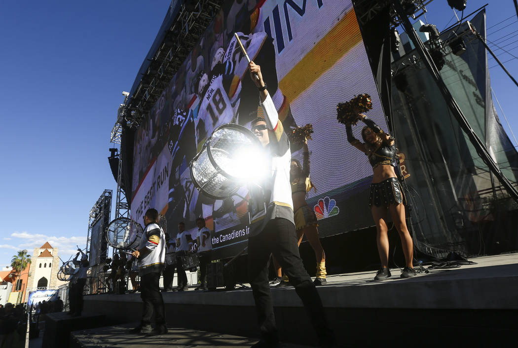 The Knight Line performs during a watch party for Game 1 of Western Conference Final between the Golden Knights and the Winnipeg Jets at the Downtown Las Vegas Events Center in Las Vegas on Saturd ...
